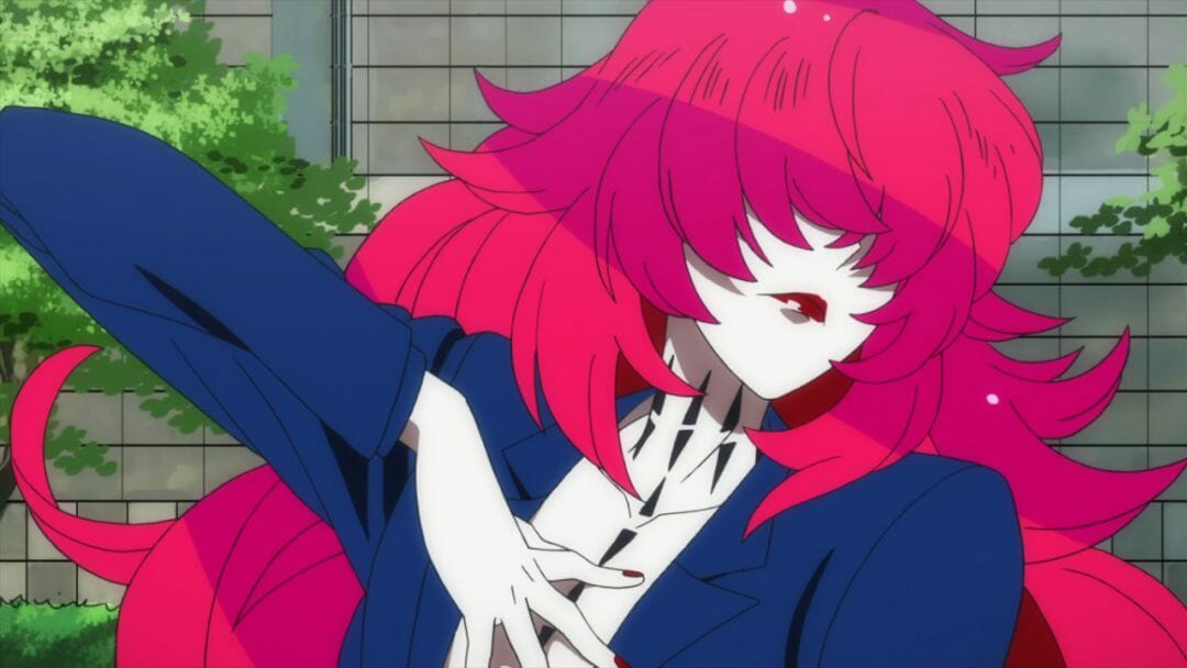 Gatchaman Crowds Still - a character of indeterminate gender with pink hair, a blue top, and crimson lips gestures theatrically for the camera.