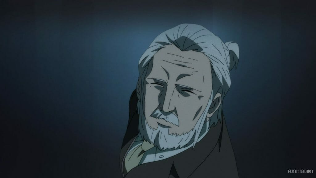 Id: Invaded Anime Episode 11 Still - An old man with a beard looks up at the camera.