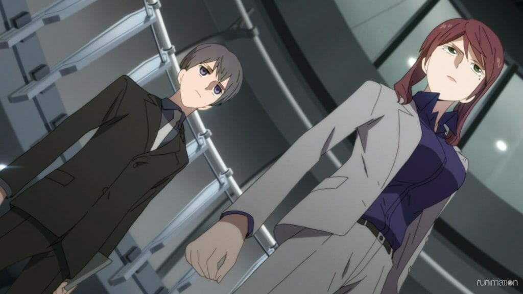 Id: Invaded Anime Episode 11 Still - A man and a woman in business suits, shot at a Dutch angle.