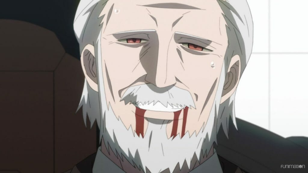 Id Invaded Episode 12 Still - a grey-haired man grins sickly as blood trails from his mouth.