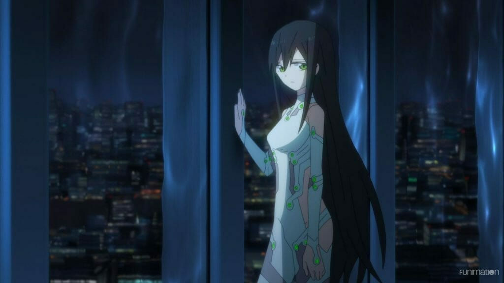 Id: Invaded Episode 13 Still - A woman in a white bodysuit frowns sadly as she looks through a window at a city skyline.