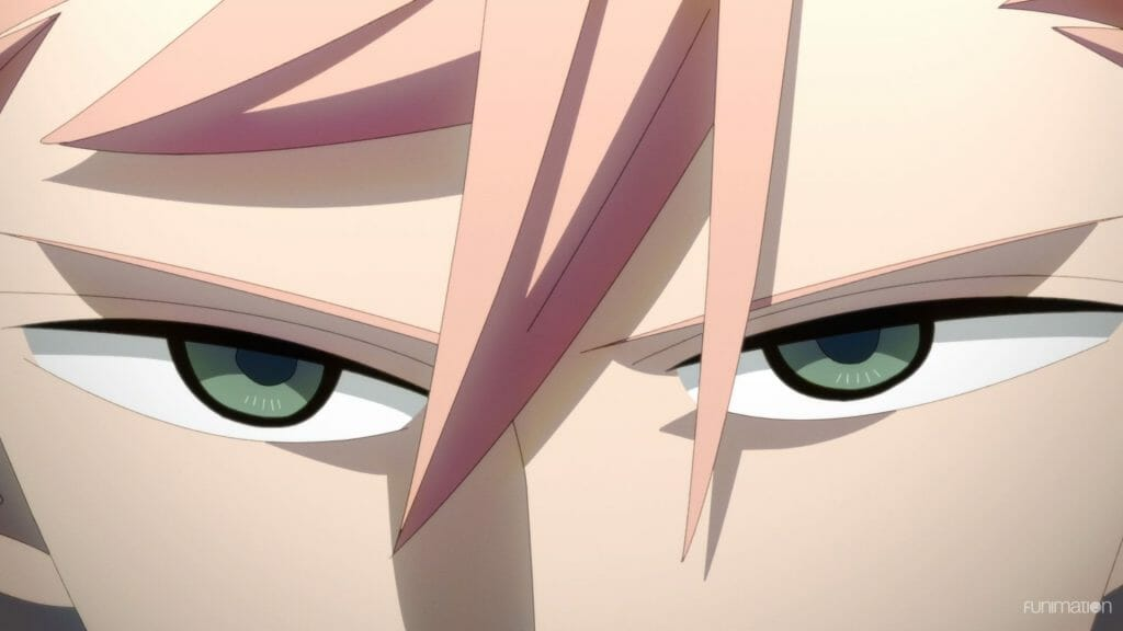 Id: Invaded Episode 13 Still - A pair of cold green eyes looking toward the camera. Tufts of pink hair poke down over the person's face.