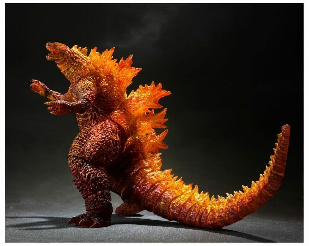 Photo of a figure depicting a burning Godzilla