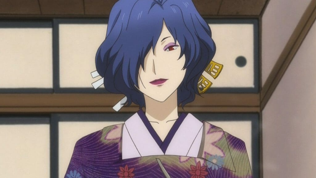 Natsume's Book of Friends Anime Still - A dark-haired woman wearing a kimono smiles.