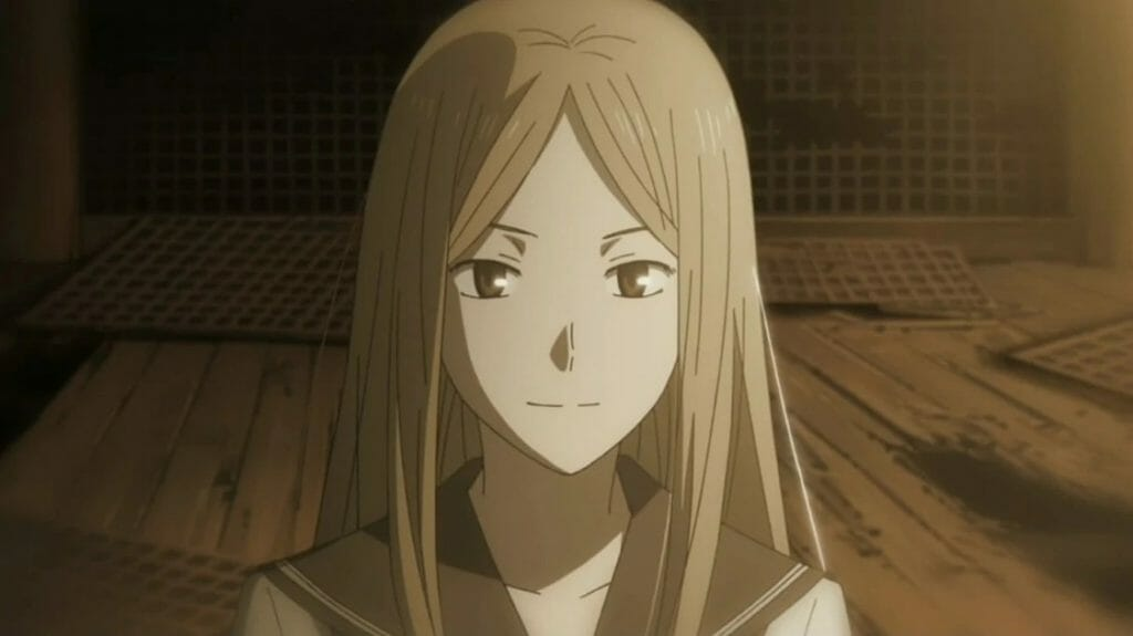 Natsume's Book of Friends Anime Still - A sepia shot of a young woman in a school uniform.