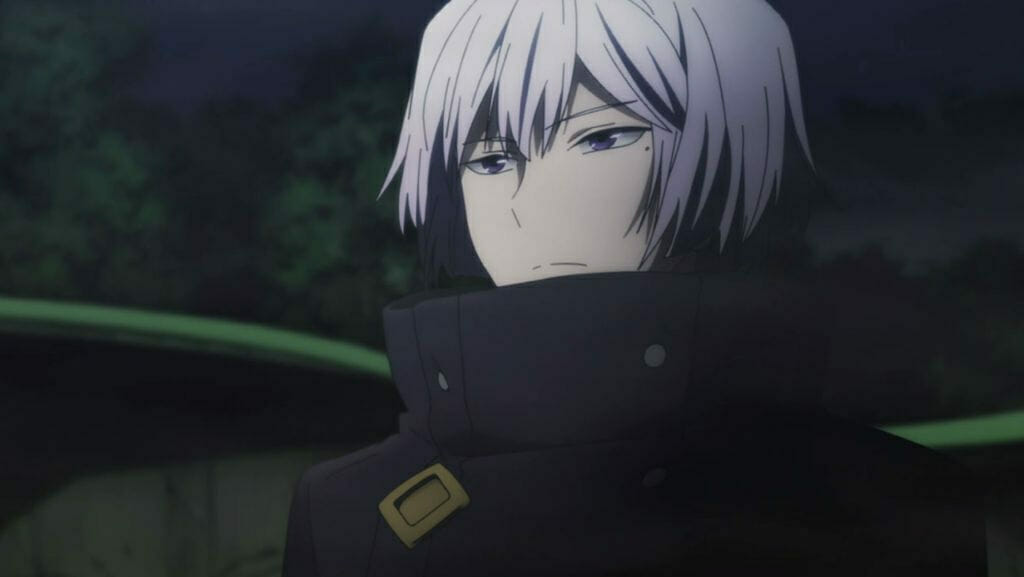 Re Hamatora Anime Still - A silver-haired man in a dark coat gazes listlessly at the camera