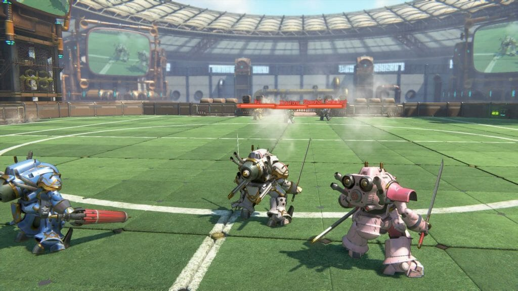 Sakura Wars English gameplay still. Three robots holding weapons face off against an opposing group, as they stand on a green astroturf surface.