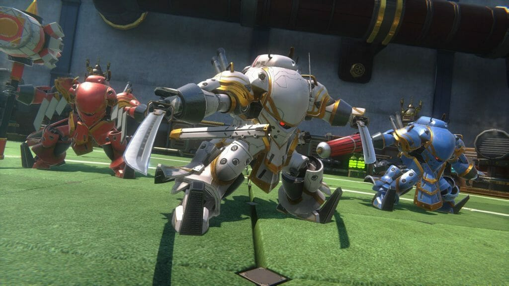 Sakura Wars English gameplay still. Three robots pose, weapons drawn as they stand on a green astroturf surface.
