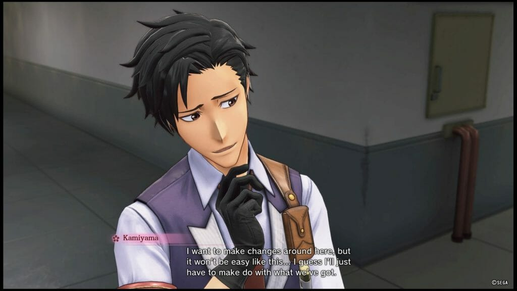 """Sakura Wars 2019 game still - a dark-haired man in a suit stands, posing thoughtfully. Dialogue: """"I want to make changes around here, but it won't be easy like this... I guess I'll just have to make do with what we've got."""
