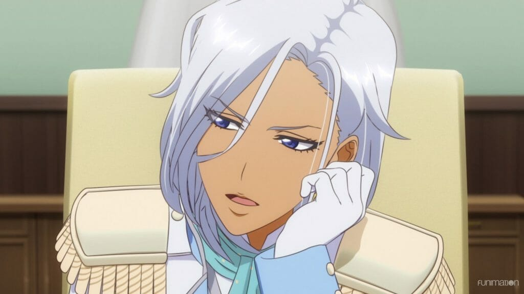 Sakura Wars the Animation Episode 1 Still - A tan woman with silver hair rests her chin on her palm as she looks disinterested.