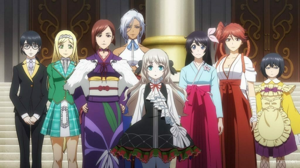 Sakura Wars the Animation Episode 1 Still - Eight women smile as they pose for a photograph.