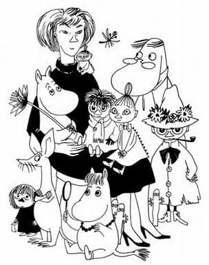 A self-portrait of Tove Jansson, surrounded by several of her Moomin characters. Moomintroll, the franchise's main character, is sitting on her lap holding a flower