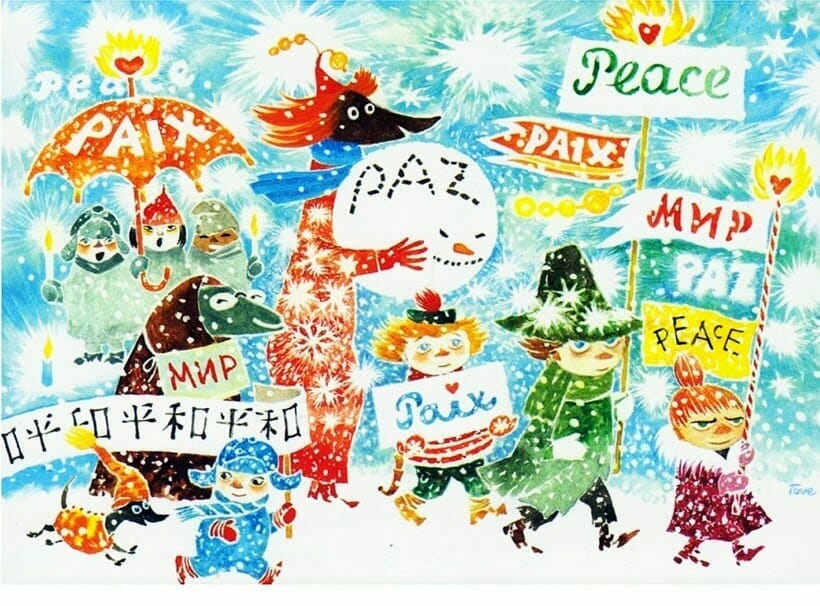 """An illustration, titled """"March for Peace"""", that Tove Jasson drew circa 1981 for UNICEF. It features several of her Moomin characters walking in the snow, holding up signs reading """"Peace"""" in five different languages"""