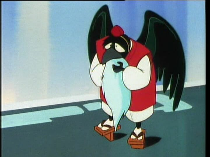 Urusei Yatsura Anime Still - A crow creature stands on its hind legs. He's wearing a red and white outfit and has a snow-white beard.