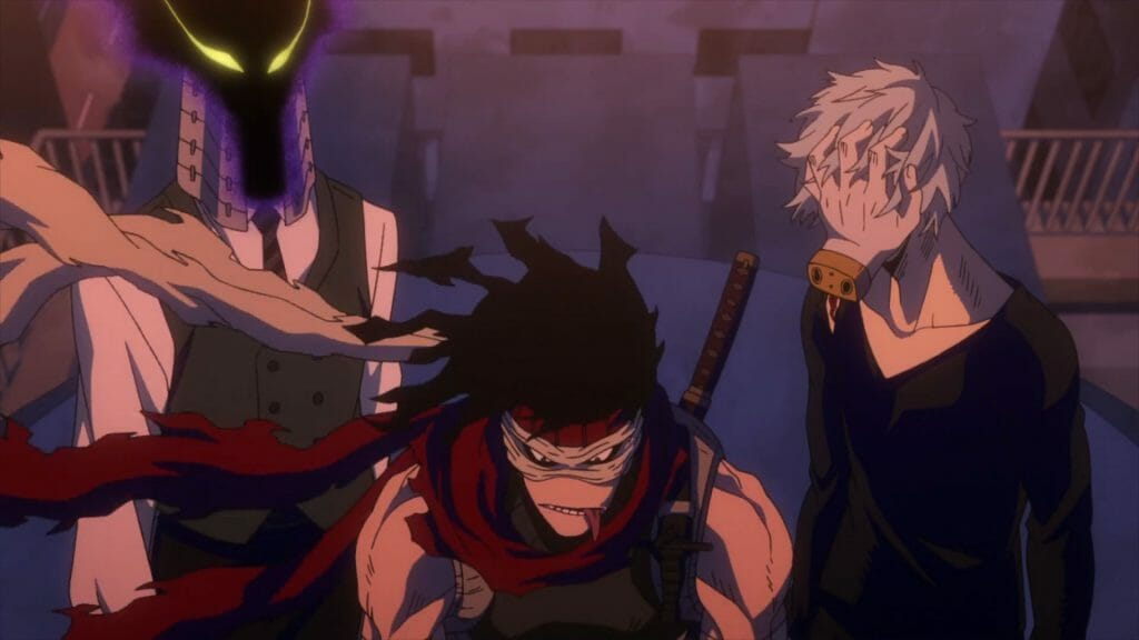 My Hero Academia anime still - three men in sinister costumes glare at the camera.