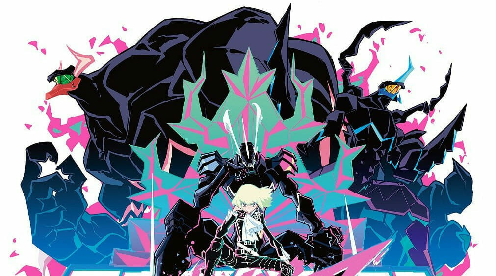 Still from the anime film PROMARE, which features blonde man flanked by two monstrous, burning creatures.