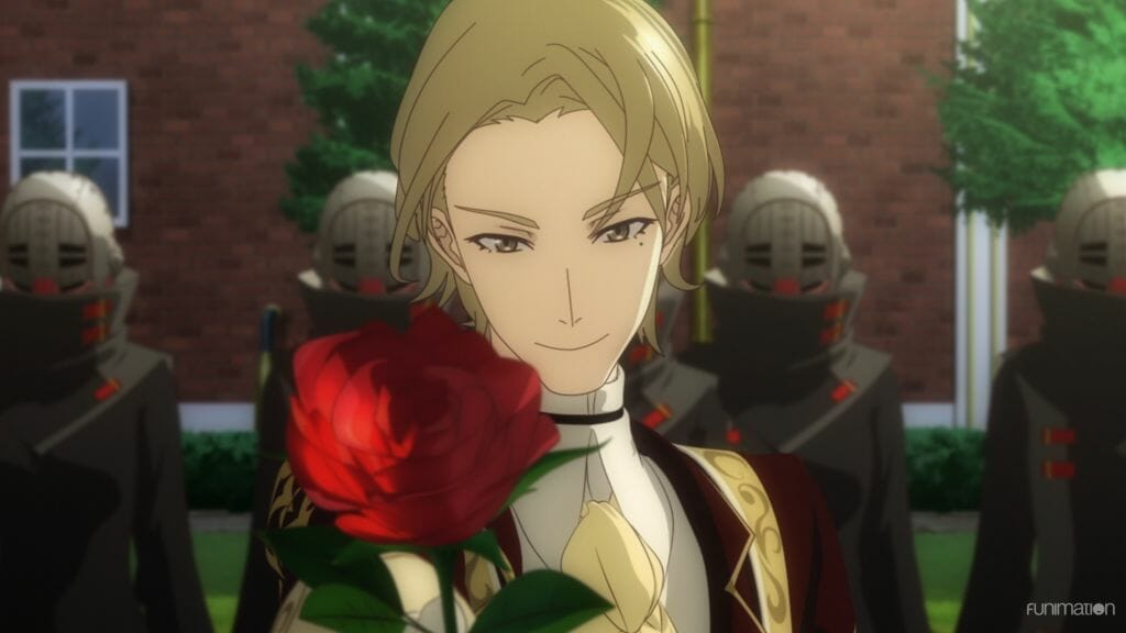 Sakura Wars The Animation anime still - A blonde man smirks as he holds a rose toward the camera.