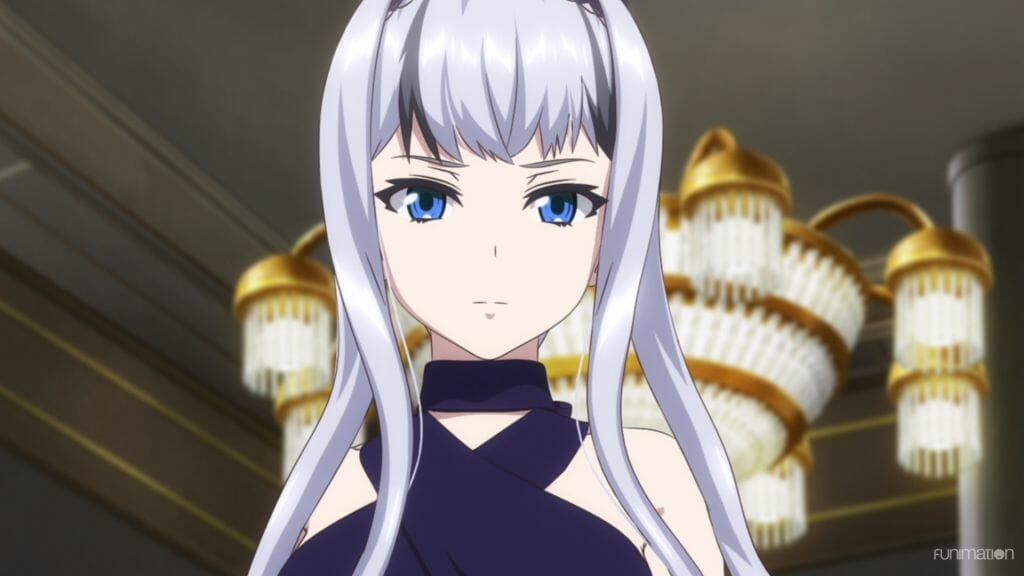 Sakura Wars The Animation anime still - a silver-haired woman in a blue dress frowns