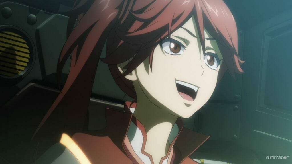 Sakura Wars The Animation anime still - A red-haired woman smiles as light shines upon her face.
