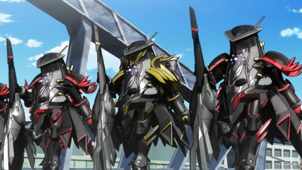 Sakura Wars The Animation anime still - three giant robots hold weapons as they stand against a cityscape.
