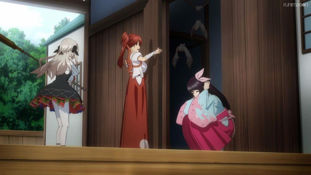 Sakura Wars The Animation Episode 04 still - three women brace themselves as a swarm of bats flies out of a dark doorway.