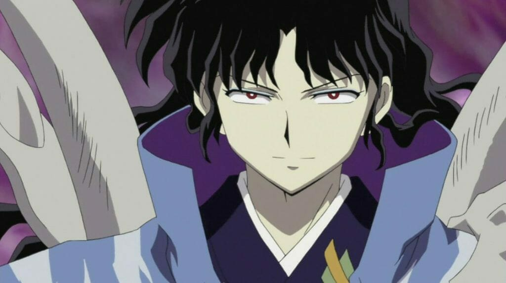InuYasha Anime Still - a black-haired man wearing a blue kimono.