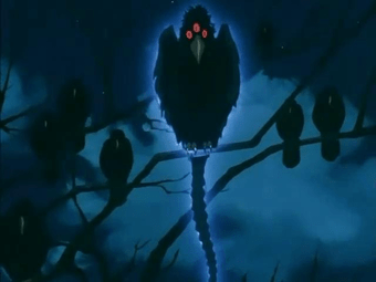 InuYasha Anime Still - a three-eyed crow demon known as the Shibugarasu