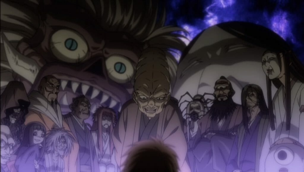An array of yokai demons stands menacingly, surrounded by a purple glow.