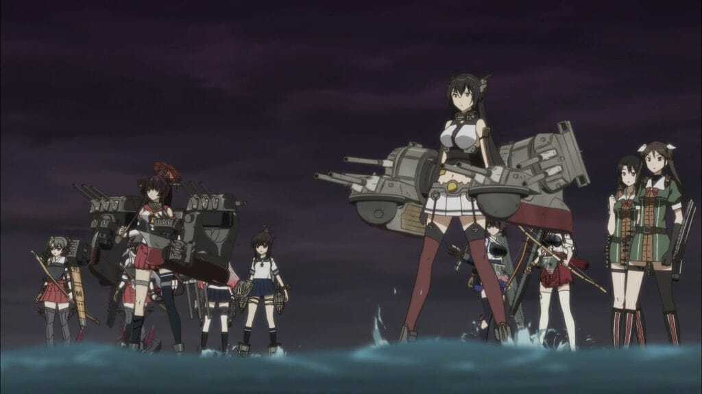 Several women in school uniforms stand in formation. They are affixed with heavy armaments.