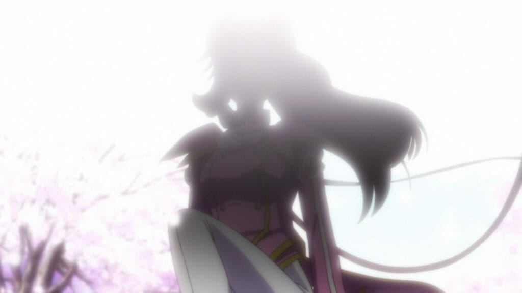 The silhouette of a woman standing atop a pink mech.