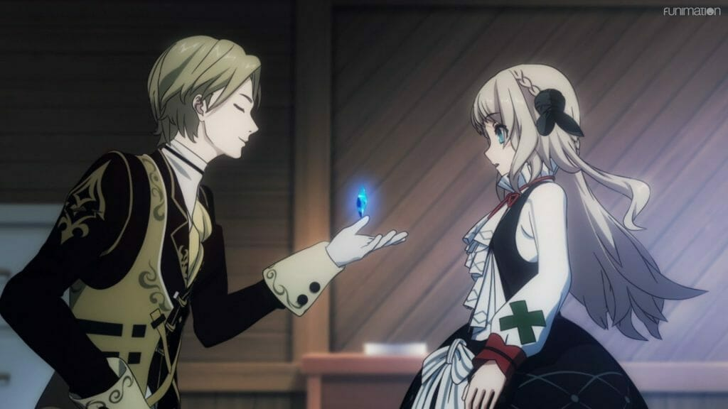 A blonde man kneels before a blonde girl, his palm outstretched. A blue glowing crystal floats just above his hand.