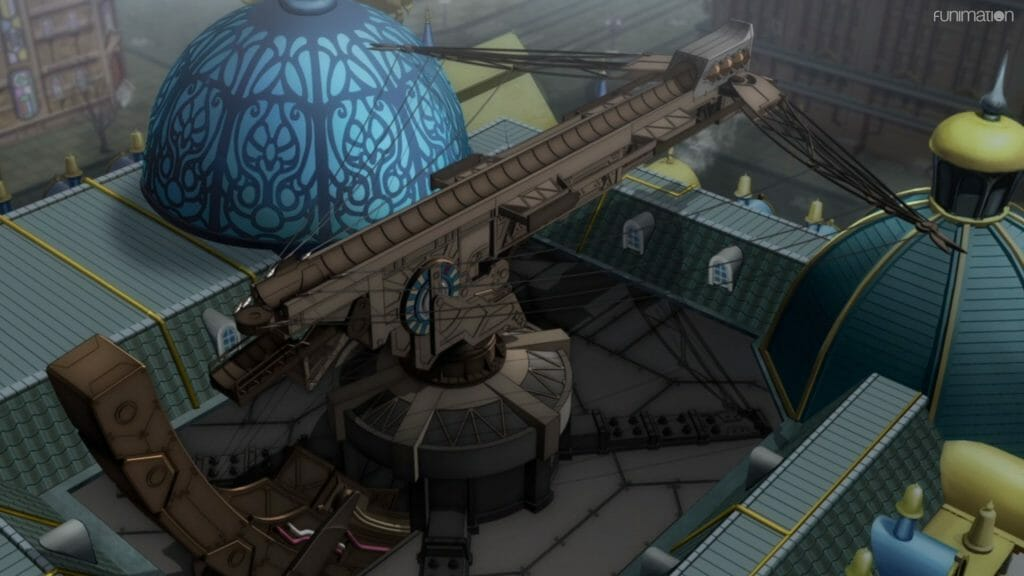 A gigantic crossbow built on the roof of a building. It's flanked by stained glass domes.