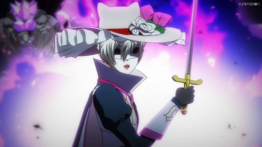 A woman with a white mask and hat holds a rapier as she looks at the camera.