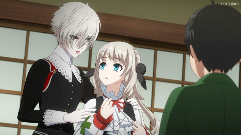 A white-haired woman smiles assuringly at a blonde girl.