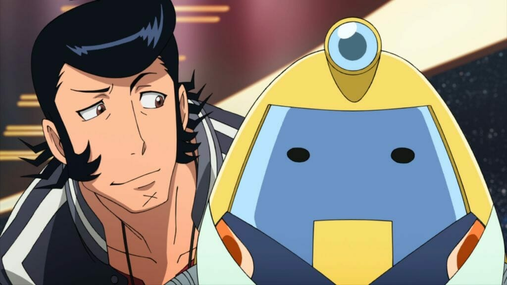A man with a pompadour smirks smugly at a nonplussed yellow robot.