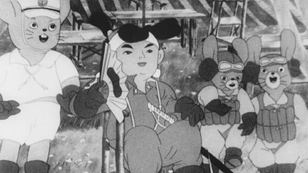 Still from Momotaro: Sacred Sailors that depicts Momotaro with several anthropomorphic animals