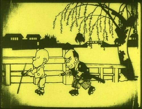 Still from anime short film Namakura Gatana that depicts a samurai standing behind a smoking man.