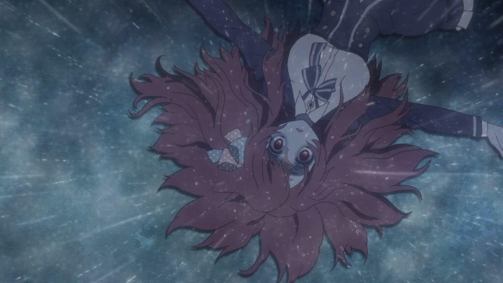 A red-haired zombie girl lays on hte ground, her hair splaying in all directions.
