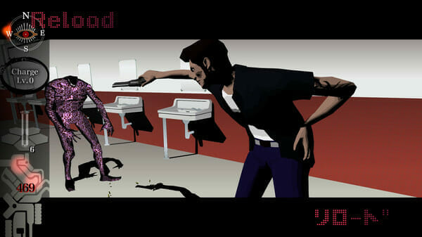 Killer7 gameplay still that features a man with a pompadour and a T-shirt gunning down a purple monster