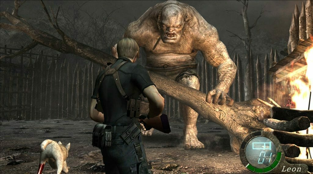 Resident Evil 4 still that features Leon Kennedy staring down an El Gigante.