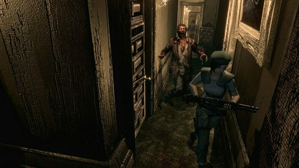 Still from Resident Evil Remake, which features Jill Valentine being chased by a zombie.