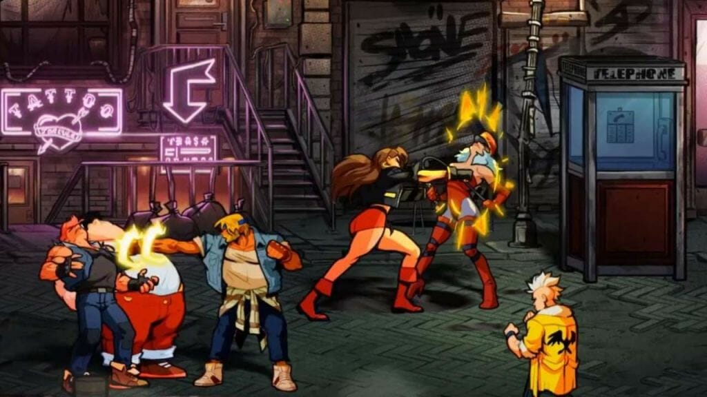Gameplay Still from Streets of Rage 4, which depicts Blaze and Axel fighting street thugs in a dingy slum