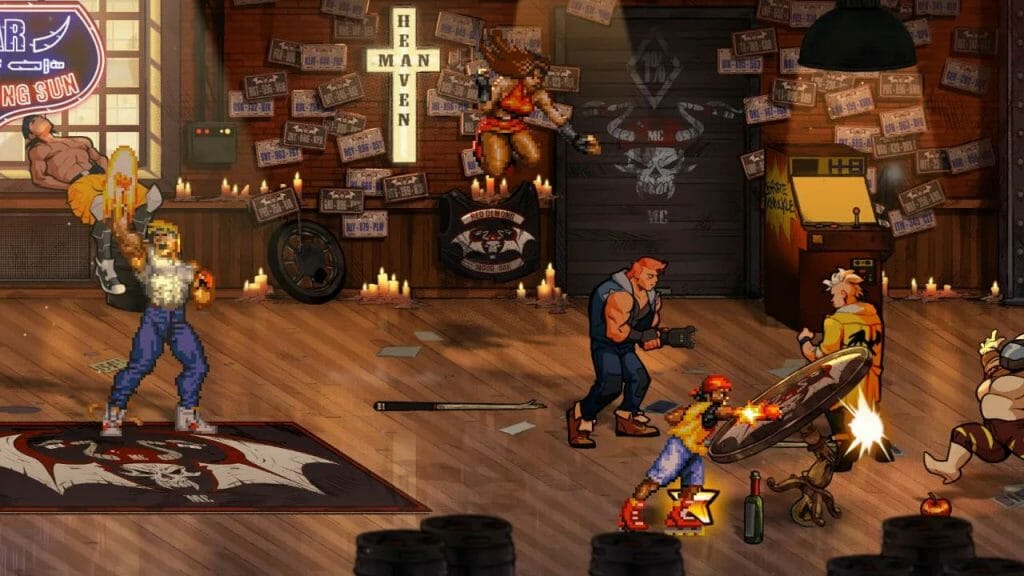 Gameplay Still from Streets of Rage 4, which depicts 16-bit versions of Blaze and Axel fighting street thugs in a dimly lit bar.