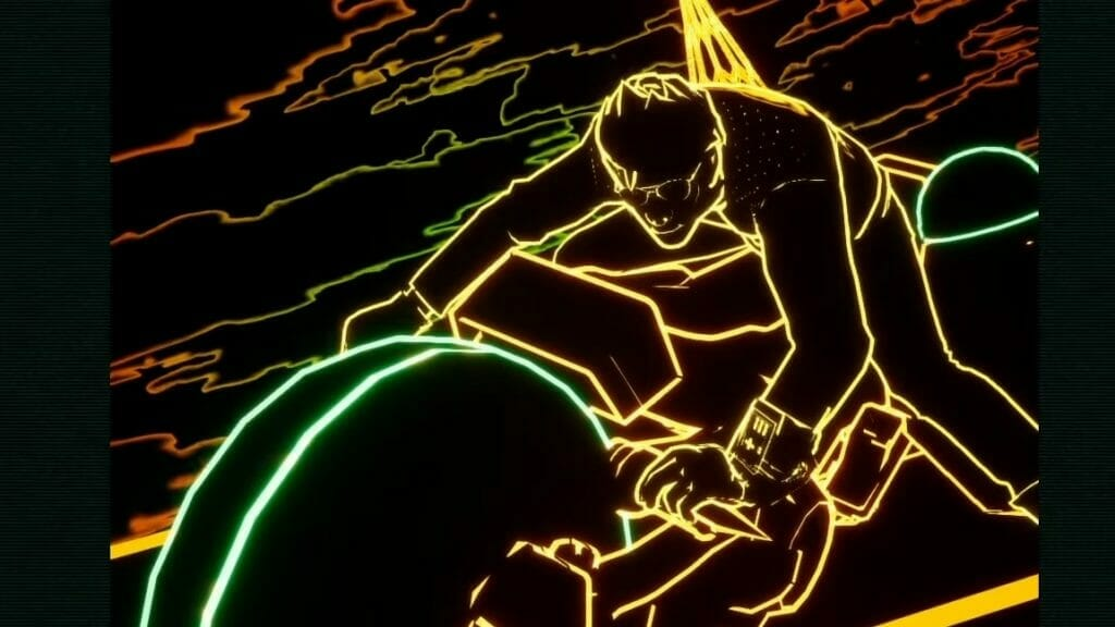 Screenshot from Travis Strikes Again: No More Heroes that features a wireframe still of a man on a motorcycle.