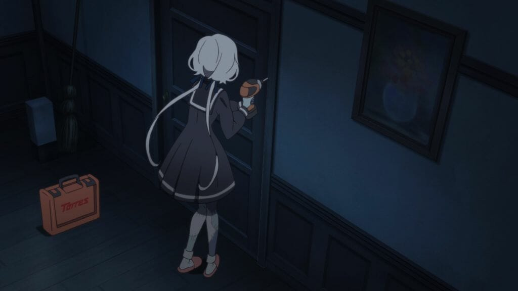 Still from Zombie Land Saga that depicts a white-haired woman as she drills a door onto its frame.