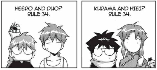 """Two comic panels of cosplayers. The left panel features Duo Maxwell and Heero Yuy from Gundam Wing accompanied by the text 'Heero and Duo? Rule 34.'"""" The right panel features Kurama and Hiei from Yu Yu Hakusho, along with the text """"Kurama and Hiei? Rule 34."""""""
