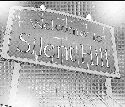 """Comic panel of a sign that reads """"Welcome to Silent Hill"""""""