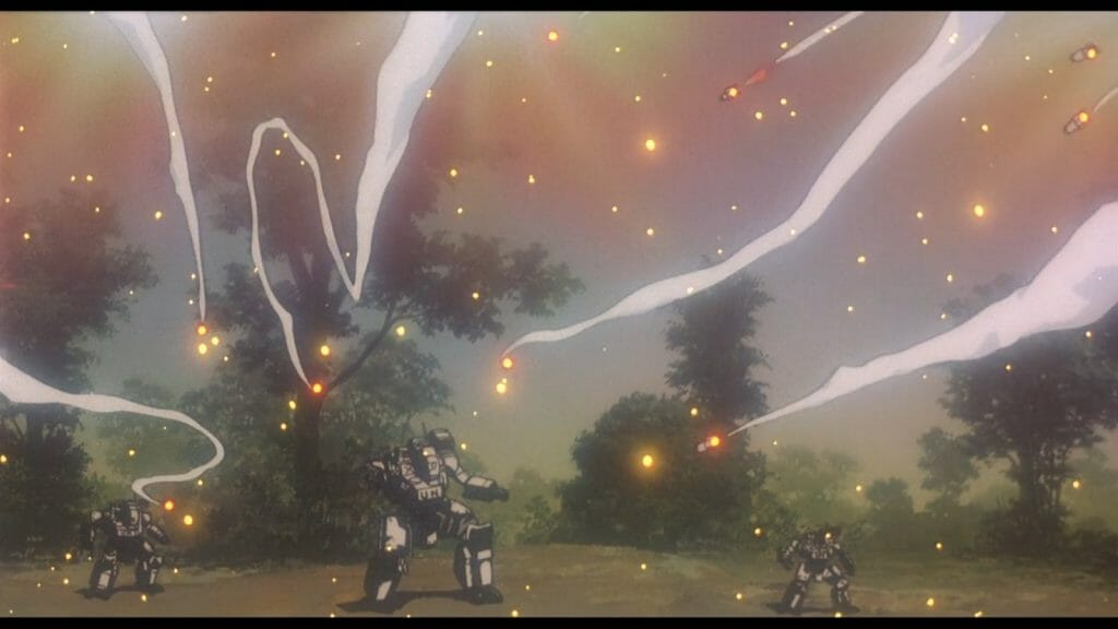Still from Patlabor 2, which features three robots standing amind a flurry of chaff and smoke trails