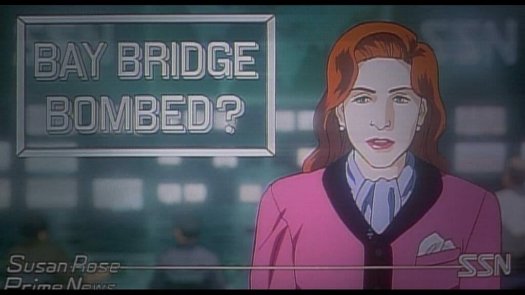 """Still from Patlabor 2, which features a red-haired newscaster staring at the camera. The words """"Bay Bridge Bombed?"""" are projected to the left of her."""
