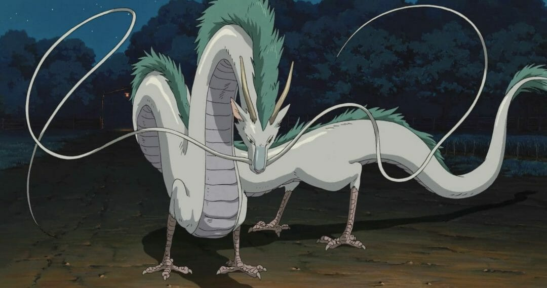 Still from Spirited Away that depicts a white dragon with a green mane.